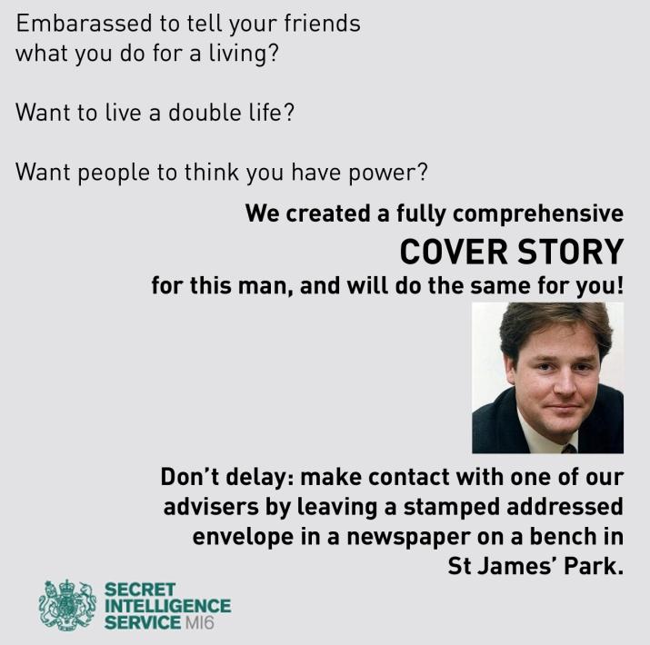 Nick Clegg: MI6 cover story