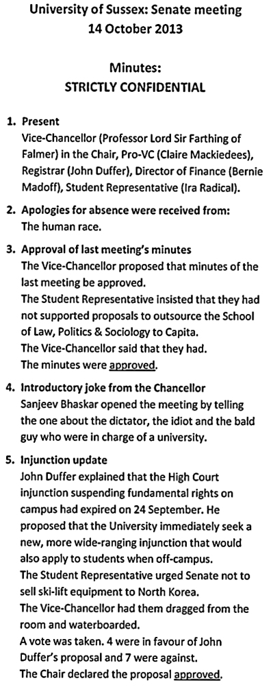 sussex university senate minutes leaked