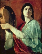 Miriam the prophet with her salad spinner in her hand