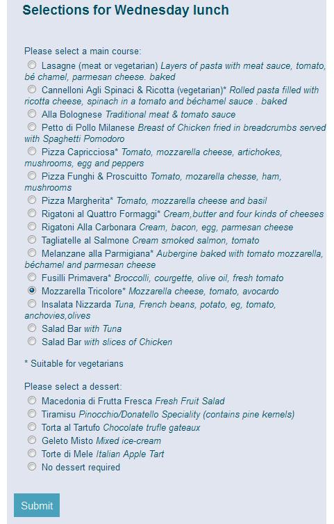 sussex graduation staff menu