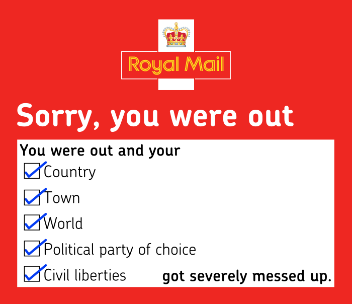 sorry you were out - royal mail